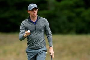 NORTON, MA - SEPTEMBER 05:  Rory McIlroy of Northern Ireland acknowledges the crowd on the fourth green during the final round of the Deutsche Bank Championship at TPC Boston on September 5, 2016 in Norton, Massachusetts.  (Photo by David Cannon/Getty Images)