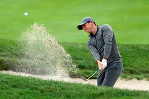 NORTON, MA - SEPTEMBER 05:  Rory McIlroy of Northern Ireland plays a shot from a bunker on the seventh hole during the final round of the Deutsche Bank Championship at TPC Boston on September 5, 2016 in Norton, Massachusetts.  (Photo by David Cannon/Getty Images)