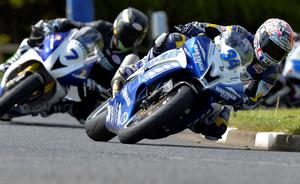 Alastair Seeley ahead of Gary Johnston and Guy Martin North West 200 First Practice Session Ballysally Roundabout Supersport Date: 13th May 2014