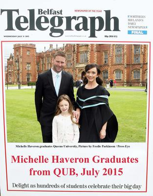 Mandatory Credit - Picture by Freddie Parkinson/Press Eye ? Wednesday 8th July 2015 Graduations Queen University Belfast. Michelle Haveron from Larne graduated at Queens University Belfast in Nursing.