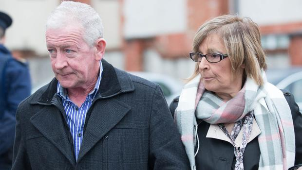 Sean McGrotty's sister-in-law Faye and his brother Jim arrive at the Lake of Shadows Hotel where the inquest is taking place into the Buncranna Pier tragedy. Picture Martin Mckeown. Inpresspics.com. 22.11.17