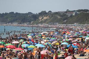 Busy scenes on Bournemouth beach (Andrew Matthews/PA)