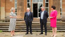 First Minister Arlene Foster and deputy First Minister Michelle O'Neill meet with UK Prime Minister Boris Johnson and Secretary of State for Northern Ireland Brandon Lewis at Hillsborough Castle this morning. Photo by Kelvin Boyes / Press Eye.