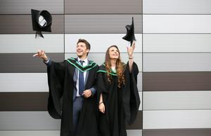 Graduating from Ulster University with a degree in Computing, Dale Long from Sion Mills and degree in International Travel Tourism Management, Claire Curran from Sion Mills.  Pic By Paul Moane