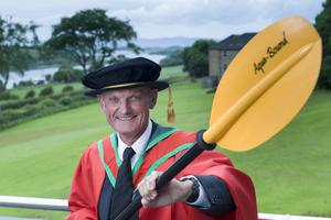 Environmental conservationist, maritime historian and kayaker Robin Ruddock received the honorary degree of Doctor of Science (DSc) for distinguished services to the community. (Photo: Nigel McDowell/Ulster University)