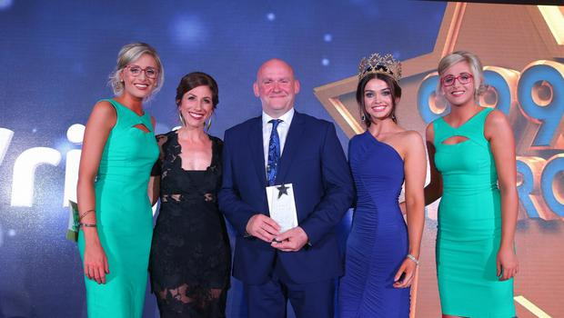 999 HERO  PSNI Sergeant Mark Wright was named 999 Hero at the Sunday Life Spirit of Northern Ireland Awards. Presenting Mark with his trophy is  Miss Northern Ireland Anna Henry and Emmerdale Star, Gaynor Faye. Also pictured are ambassadors from title sponsor Specsavers, Nicola and Alison Crimmins. Mark was one of ten winners on the night which was held at the Culloden Resort and Spa.