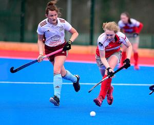 On attack: Pegasus ace Charlotte Beggs takes on Loreto