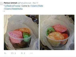 Isis supporters often tweet pictures of food, with different flavours of ice cream shown here
