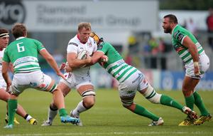 Ulster's Roger Wilson is tackled by Treviso's Tom Palmer. Pic: Darren Kidd / Press Eye.