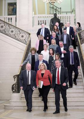 Michelle O'Neill from Sinn Fein with party colleagues  pictured at Parliament Buildings, Stormont.  Photo by Kelvin Boyes  / Press Eye.