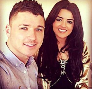 Rebecca Gowdy with her other half, Lurgan Celtic's Adam Rodgers