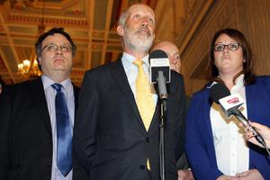 PACEMAKER BELFAST  10/09/2015 Alliance Party leader David Ford and his party hold a press conference in the Great Hall at Stormont this afternoon. PHOTO MATT BOHILL/PACEMAKER PRESS