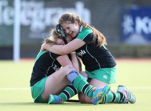 The Belfast Telegraph Senior Schools Cup Final - Sullivan Upper v Banbridge at Lisnagarvey Hockey Club. Katherine McKee and Zara Malseed of Sullivan celebrate at the end of the game  Presseye
