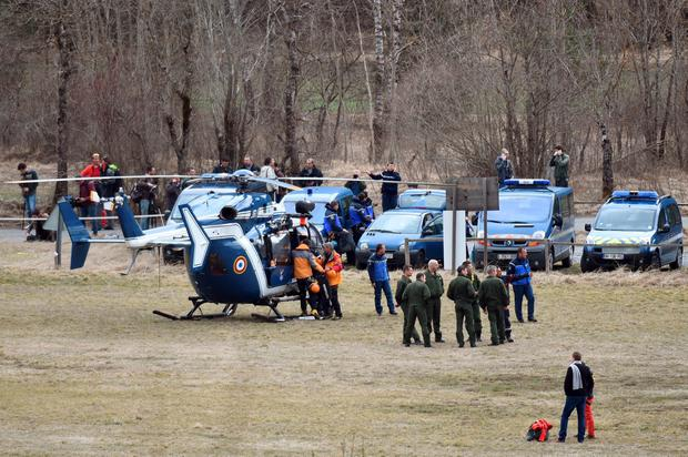 Members of the French gendarmerie gather in Seyne, south-eastern France, on March 24, 2015, near the site where a Germanwings Airbus A320 crashed in the French Alps.