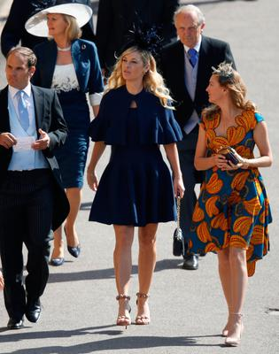 Chelsy Davy (C) arrives for the wedding ceremony of Britain's Prince Harry, Duke of Sussex and US actress Meghan Markle at St George's Chapel, Windsor Castle, in Windsor, on May 19, 2018. / AFP PHOTO / POOL / Odd ANDERSENODD ANDERSEN/AFP/Getty Images