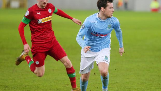 County Antrim Shield Final -  Windsor Park.  21.01.20  Cliftonville FC vs Ballymena United  CliftonvilleÕs Ronan Doherty with BallymenaÕs Andrew McGrory  Mandatory Credit ©INPHO/Jonathan Porter