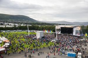 Belfast Vttal stage at Boucher Playing Fields ahead tonight's performance with MUSE and Biffy Clyro. Wednesday 23rd August 2017. Picture by Liam McBurney/RAZORPIX