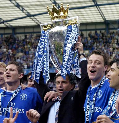 File photo dated 07/05/2005 of Jose Mourinho lifting the Barclays Premiership trophy. PRESS ASSOCIATION Photo. Issue date: Monday June 3, 2013. Chelsea have confirmed Jose Mourinho as their new manager on a four-year contract. See PA story SOCCER Chelsea. Photo credit should read: Rebecca Naden/PA Wire