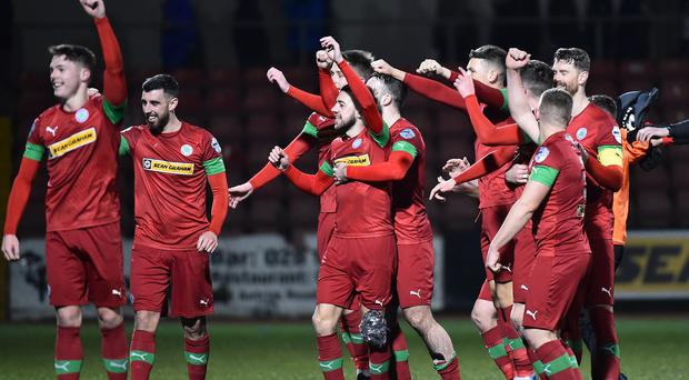 Cliftonville celebrate after todays game at Solitude in Belfast. Photo Colm Lenaghan/Pacemaker Press