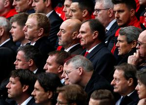 Former Liverpool players Bruce Grobbelaar and Phil Thompson (centre) and Alan Hansen during the last memorial service to be held at Anfield, Liverpool, to mark 27 years to the day since the tragedy claimed 96 lives. PRESS ASSOCIATION Photo. Picture date: Friday April 15, 2016. The 96 Liverpool fans died in the crush on the Leppings Lane terraces at Sheffield Wednesday's Hillsborough stadium after going to see their team play Nottingham Forest in an FA Cup semi-final on April 15, 1989. See PA story MEMORIAL Hillsborough. Photo credit should read: Peter Byrne/PA Wire