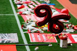 LIVERPOOL, ENGLAND - APRIL 15:  Tributes are placed on the pitch before a memorial service to mark the 27th anniversary of the Hillsborough disaster, at Anfield stadium on April 15, 2016 in Liverpool, England. Thousands of fans, friends and relatives will take part in the final Anfield memorial service for the 96 victims of the Hillsborough disaster. Earlier this year relatives of the victims agreed that this year's service would be the last. Bells across the City of Liverpool will ring out during a one minute silence in memory of the 96 Liverpool supporters who lost their lives during a crush at an FA Cup semi-final match against Nottingham Forest at the Hillsborough football ground in Sheffield, South Yorkshire in 1989.  (Photo by Christopher Furlong/Getty Images)