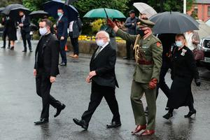 The President of Ireland Michael D. Higgins (second left) arrives at St Eugene's Cathedral in Londonderry for the funeral of John Hume. PA Photo. Picture date: Wednesday August 5, 2020. Hume was a key architect of Northern Ireland's Good Friday Agreement and was awarded the Nobel Peace Prize for the pivotal role he played in ending the region's sectarian conflict. He died on Monday aged 83, having endured a long battle with dementia. See PA story FUNERAL Hume. Photo credit should read: Niall Carson/PA Wire