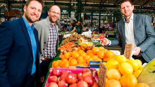 Roger Busby (left) and Mike Robinson of Deloitte Digital and Gareth Quinn (right) of Digital DNA at St George's Market, the location of next month's event
