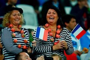 LONDON, ENGLAND - SEPTEMBER 23: France fans enjoy the atmosphere prior to the 2015 Rugby World Cup Pool D match between France and Romania at the Olympic Stadium on September 23, 2015 in London, United Kingdom.  (Photo by Mike Hewitt/Getty Images)