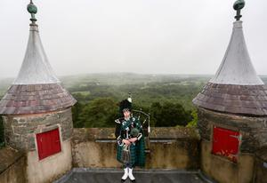 An overnight vigil at the Somme Museum and Heritage Centre outside Newtownards. The sound of bagpipes filled the air at Helen's Tower, as lone piper, Grahame Harris, played a lament. Picture: Philip Magowan / PressEye