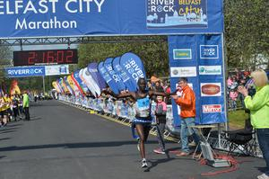 Pacemaker Press 1/5/2017 Winner Bernard Rotich from Kenya wins  the Belfast City Marathon on Bank Holiday Monday, with over 15,000 people taking part threw the streets of Belfast, with the Finish line at Ormeau Park. Pic Colm Lenaghan/Pacemaker