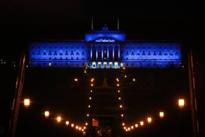 Parliament Buildings, Stormont in Belfast is lit up in blue in support for key workers and the NHS across the country as the second Clap For Our Carers takes place. Photo by Kelvin Boyes / Press Eye.