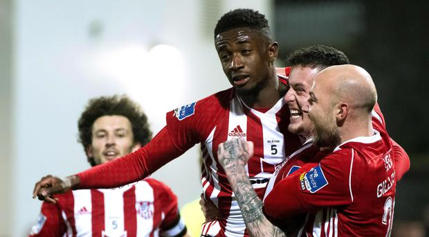 SSE Airtricity League Premier Division, Ryan McBride Brandywell Stadium, Derry 25/10/2019 Derry City's Junior Ogedi-Uzokwe celebrates his goal with teammates Mandatory Credit ©INPHO/Evan Logan