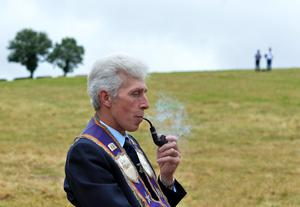 PACEMAKER BELFAST  13/07/2015:  Thousands of Orange Order members are taking part in parades across Northern Ireland. The parades mark the 325th anniversary of King William III's victory at the Battle of the Boyne in 1690. Gerald Rutherford pictured at the Twelfth celebrations in Saintfield.  Photo Arthur Allison/Pacemaker Press
