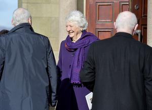 Mary Peters arrives for Barney Eastwood's funeral at Colmcille's Church in Holywood, Co Down.  Friday 13th  March 2020