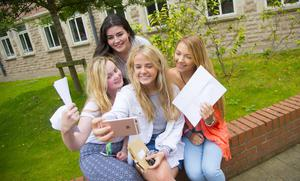 A-Level results day 2016 - Mariah Donnelly, Lucy Brown, Rachel Brady, (Back Centre) Blanaid Kearney of St Dominic's on the 18th August 2016, Belfast , Northern Ireland ( Photo by Kevin Scott / Belfast Telegraph )