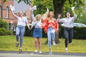 A-Level results day 2016 - Mariah Donnelly, Lucy Brown, Rachel Brady, Blanaid Kearney of St Dominic's on the 18th August 2016, Belfast , Northern Ireland ( Photo by Kevin Scott / Belfast Telegraph )