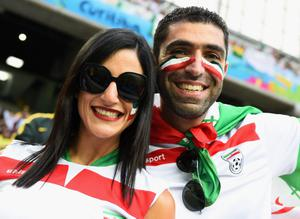 Iran fans show support during their side's World Cup clash with Nigeria. Pic Matthias Hangst/Getty