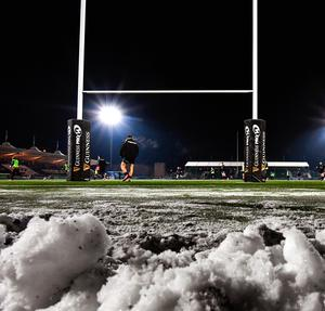 A view of Scotstoun after the match was called off