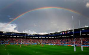 LEICESTER, ENGLAND - OCTOBER 06:  A rainbow shines over the stadium during the 2015 Rugby World Cup Pool D match between Canada and Romania at Leicester City Stadium on October 6, 2015 in Leicester, United Kingdom.  (Photo by Stu Forster/Getty Images)