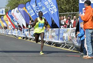 Press Eye - Belfast - Northern Ireland 1st May 2017 - Picture by Stephen Hamilton / Press Eye.  2017 Deep RiverRock Belfast City Marathon, Northern Ireland. Second Dan Tanui  pictured at the finish line at Ormeau park.