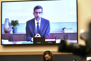 Google CEO Sundar Pichai testifies remotely (Mandel Ngan/Pool via AP)