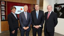 Peter Robinson and Martin McGuinness with Enterprise Minister Arlene Foster and Paul Terrington, PwC Regional Chairman. PricewaterhouseCoopers is creating 807 jobs. Pic Kelvin Boyes/Press Eye