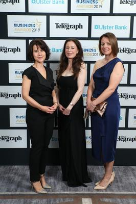 Press Eye - Belfast - Northern Ireland - 2nd May 2019 -   Margaret Canning, Gail Walker and Sarah Little pictured at the Belfast Telegraph Business Awards in association with Ulster Bank at the Crowne Plaza Hotel, Belfast. Photo by Kelvin Boyes / Press Eye.