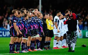 EXETER, UNITED KINGDOM - OCTOBER 16: A minutes silence is held in memory of Munster Head Coach Anothony Foley who passed away at the age of 42 during the European Rugby Champions Cup match between Exeter Chiefs and ASM Clermont Auvergne at Sandy Park on October 16, 2016 in Exeter, United Kingdom. (Photo by Harry Trump/Getty Images)