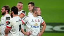Jacob Stockdale and his Ulster team-mates mull over their final defeat after the full-time whistle.
