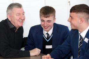 Belfast Telegraph - Norman Whiteside - Visit to Hazelwood College - 4th March 2020 Photograph by Declan Roughan  Norman Whiteside with students (L-R) Matthew Williamson Dale Taylor from Hazelwood College.