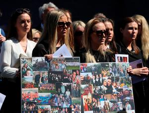 Mourners attend the funeral of Eoghan Culligan at the Church of the Annunciation, Rathfarnham in Dublin, after he died when a balcony collapsed in the college town of Berkeley, California. PRESS ASSOCIATION Photo. Picture date: Tuesday June 23, 2015. See PA story FUNERAL Balcony. Photo credit should read: Niall Carson/PA Wire