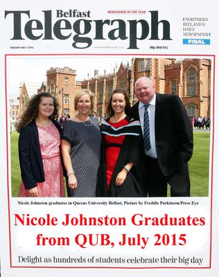 Mandatory Credit - Picture by Freddie Parkinson/Press Eye ? Tuesday 7th July 2015 Graduations Queen University Belfast. Nicole Johnston from Newtownabbey graduates in Queen University Belfast.