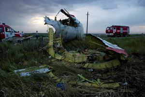 Fire engines arrive at the crash site of a passenger plane near the village of Hrabove, Ukraine, as the sun sets Thursday, July 17, 2014.  Ukraine said a passenger plane carrying 295 people was shot down Thursday as it flew over the country, and both the government and the pro-Russia separatists fighting in the region denied any responsibility for downing the plane. (AP Photo/Dmitry Lovetsky)