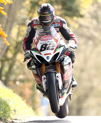 Out in front: Derek Sheils sets the pace yesterday ahead of today's Cookstown 100 races